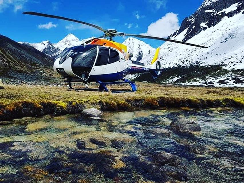 Helicopter in Bhutan