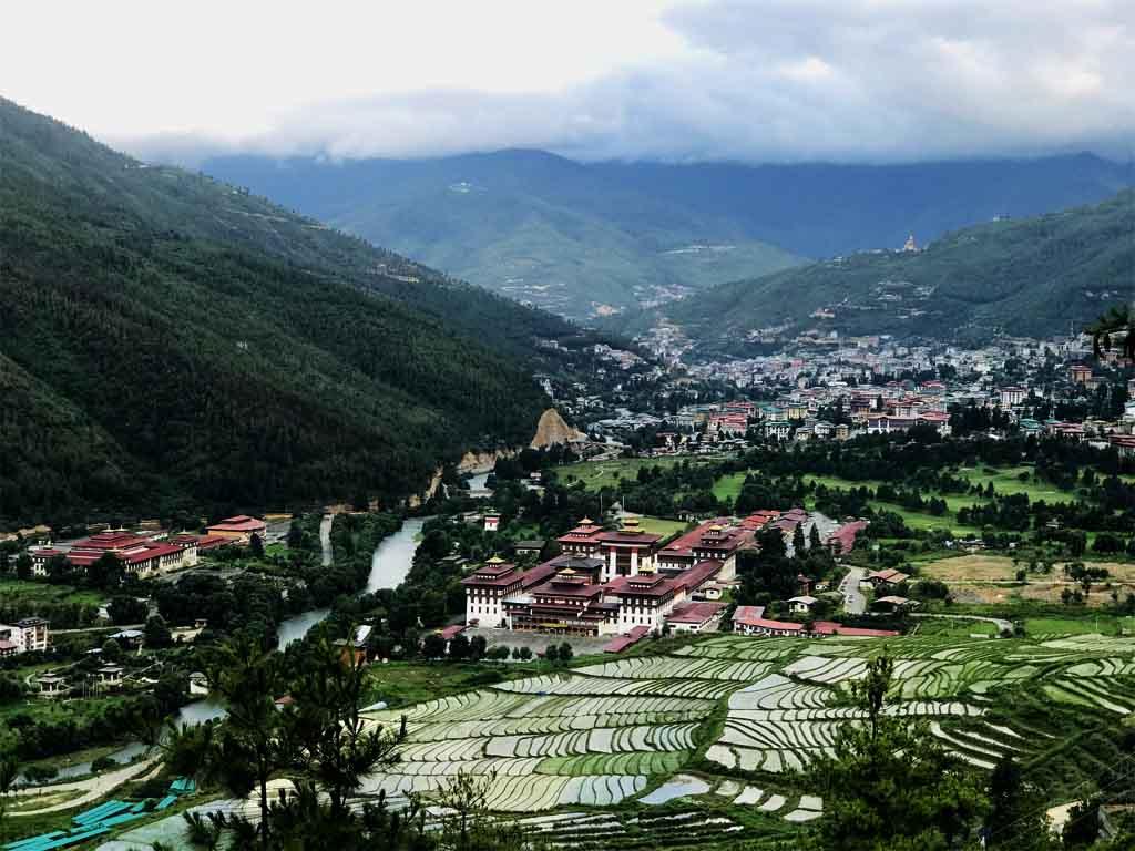 Thimphu Dzong and Thimphu valley