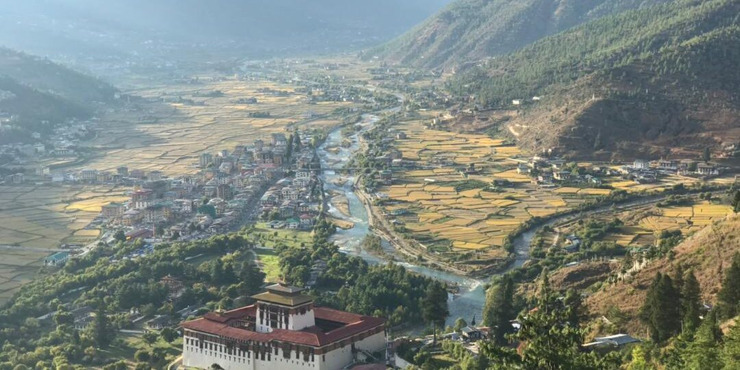 Panoramic view of Paro Valley